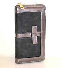 CARTERA billetera mujer gris portafolio bolso monedero clutch wallet purse G15