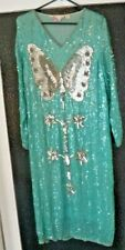 Unique Vtg. Women's Thums Up Turquoise Sequin Butterfly Evening Dress Size Med.