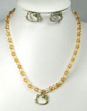 Parure collier et boucles d'oreilles Hello Kitty jaune