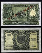 50 LIRE ITALIA ELMATA 31.12.1951 SPECIMEN FDS