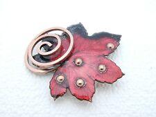 """VTG MATISSE Renoir Signed """"Leaf"""" Design Red Enamel Copper Brooch Pin"""