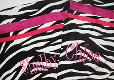 Monogrammed Beach Towel - Black and White Zebra with Stripes in Pinks - NEW