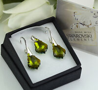 925 SILVER EARRINGS/SET MADE WITH SWAROVSKI CRYSTALS 16mm BAROQUE -OLIVINE AB