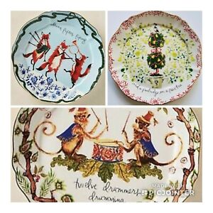ANTHROPOLOGIE INSLEE FARISS 12 DAY CHRISTMAS MENAGERIE PLATE PIPERS PEAR DRUMMER