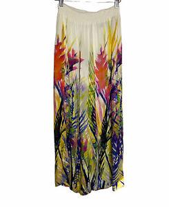 Anthropologie Smocked Waist Floral Wide Leg Palazzo Pants Rayon Split Leg Boho