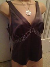 Lovely Next Petite size 10 mocha sequinned silky top with beads and sequins