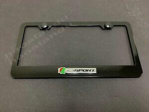 1x R-SPORT 3D Emblem BLACK Stainless License Plate Frame RUST FREE + Screw Cap