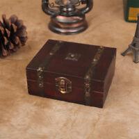 1pc Decorative Trinket Jewelry Storage Box Handmade Vintage Wooden Treasure Case