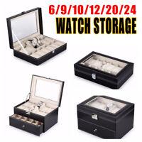6 10 12 20 24  Slots Grids PU Leather Watch Box Men Case Jewelry Storage Lock