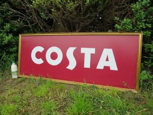 A GOOD COSTA COFFEE ACRYLIC SHOP DISPLAY SIGN IN GOLD WOODEN FRAME