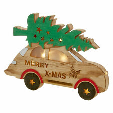 Wooden Christmas Light up Car with Tree LED Battery Decoration