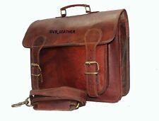 Vintage Leather Messenger Portable Shoulder School Satchel Laptop Briefcase Bag