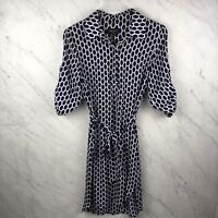 Laundry by Shelli Segal Dress Size 4 Womens Navy White Belted