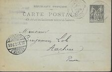 ENTIER  POSTAL  CARTE POSTALE  TYPE SAGE 1897 TURCOING