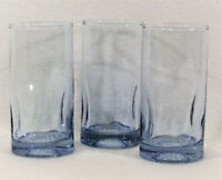 "Set of 3 Tinted Bue Glass Drinking Glasses 6"" Tall Water Iced Tea Tumblers"