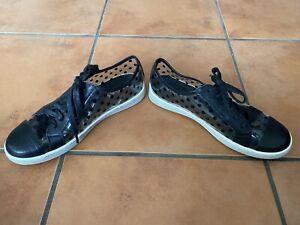 Gorgeous MIDAS EU 38 AU 7 Black DOTTY Lace Up Flat Rain Shoes