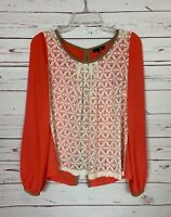 Ryu Anthropologie Women's M Medium Coral Ivory Lace Cute Spring Top Blouse Shirt