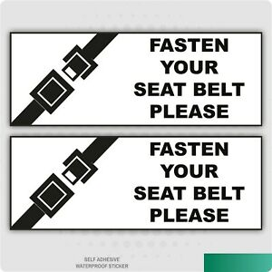2 x Fasten Your Seat Belt Warning Self Adhesive Stickers Safety Business