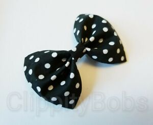 """LARGE HANDMADE 4"""" BLACK & WHITE POLKA DOT SPOTTED FABRIC BOW HAIR CLIP OR BOBBLE"""