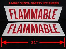 "(2) Vinyl ""FLAMMABLE"" Large SAFETY STICKERS 6"" x 21"" Safety signs (NEW)"