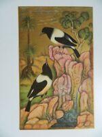 gravure, enluminure indienne, scène d'oiseaux