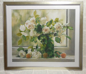 "Art Painting Original  Pastel With Oil Pencil Flowers 63x72cm(25""x28.4"")Glass"