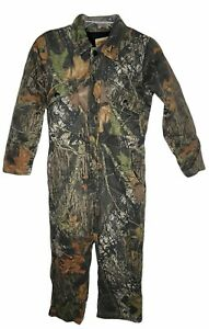 Mossy Oak Field Staff Youth M 8/10 Camo Overalls Coveralls lined Hunting pockets