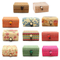 BD_New Wholesale Bamboo Wooden Jewelry Organizer Storage Box Strap Craft C TFSO