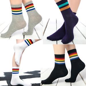 Womens 2 stripes ankle socks ladies Rainbow stripe tennis sport socks SIze 4-7