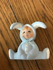 Ceramic Handpainted Baby Boy In Bunny Rabbit Costume Figurine Signed Dated