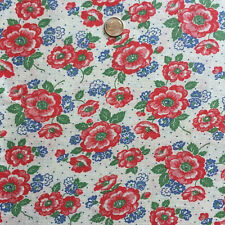 Vintage Partial Feed Sack Lovely Red & Blue Floral w/Dots on White 21