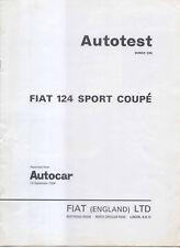 Fiat 124 Sports Coupe original period Autocar Road Test 1968