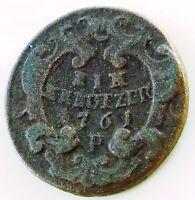 Austria coin,  1 Kreuzer 1761 P, Copper, EIN KREUTZER 1761.