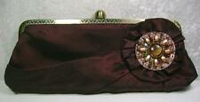 Clutch Purse Brown Satin Hidden Chain Handle Medallion Beads Evening