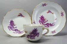 (G6146) Meissen Espresso-Mokkagedeck, Ming Drache in violett, Goldrand, 1.Wahl