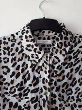 EQUIPMENT firma Leopardo Animal Print Manga Larga Camiseta de seda Q785 pequeña