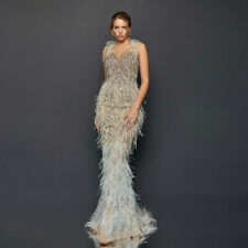 Luxury Feather Beaded Mermaid Prom Party Celebrity Dress Evening Pageant Gown