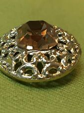 "Rhinestone button 1""  vintage gold color metal amber glass stone"