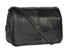 Womens Black Soft Leather Bag Flap Over Classic Cross Body Shoulder Bag PAT New