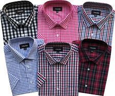 Mens Short Sleeve Reg/Big Size Spring/Summer Check Shirts M to 6XL Cotton Blend