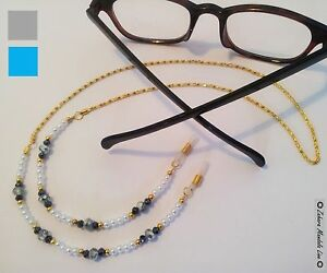 HANDMADE Eye Glasses Holder Lanyard, GOLD & Pearls, Fashion Accessory Necklace