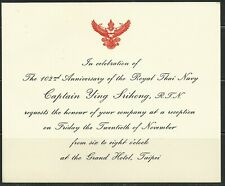 Thailand 102nd Anniversary of Royal Thai Navy Reception Celebration Invitation