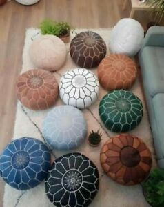 MOROCCAN HAND STITCHED GENUINE GOAT LEATHER POUF  - UN-STUFFED