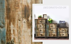 VINTAGE DISTRESSED WOOD STICKY BACK PLASTIC FURNITURE WALL DECAL FABLON RETRO UK