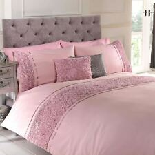 Pink Single Duvet Quilt Cover Bed Set Bedding Raised Rose and Ribbon Polycotton
