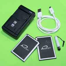 AceSoft 2x 2770mAh Battery Dock Charger Data Cable Pen for LG Sunset L33L Phones