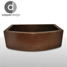"Hand Hammered Copper Round Apron Farmhouse Kitchen Sink 33""x22"""