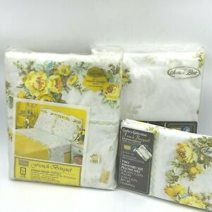 Vintage Sears Twin Flat Fitted Sheet Set French Bouquet Yellow Floral Percale K8