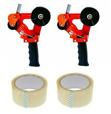 2 Packing Tape Dispensers 2 Handheld Tape Gun 2 Rolls Packaging Shipping New