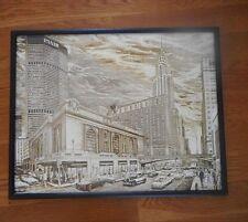 Vintage Delbart Duchein Framed Lithograph Print Grand Central Station Pam Am